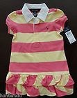 NWT Ralph Lauren Girls Short Sleeved Pink Striped Ruffle Rugby Dress