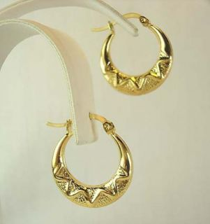 14 KT GOLD OVERLAY OVAL HOOP SHRIMP EARRINGS
