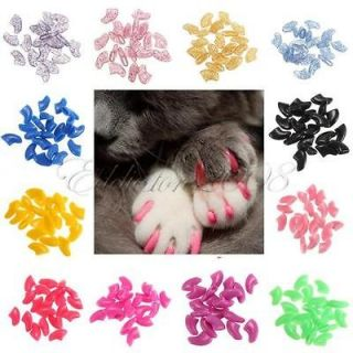 20pcs Soft Cat Pet Nail Caps Claw Control Paws off + Adhesive Glue XS