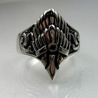 Vintage Biker Mens Black Silver Stainless Steel Eagle Hawk Ring
