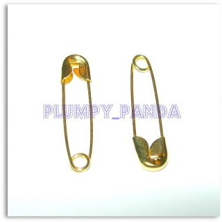 LARGE medium SMALL coiled safety pins gold GOLDEN yellow fashion