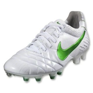 Nike Tiempo Legend IV FG Cleats (White/Court Green/Metallic Silver)