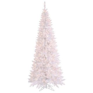 FT GORGEOUS WHITE FIR TREE ~CLEAR LIGHTS ~SLIM PRE LIT LIGHTED