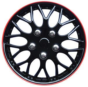 NEW CAR 15 GLOSS BLACK & RED RIM MISSOURI WHEEL TRIMS / HUB CAPS FULL