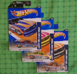 2011 Hot Wheels Chevy Pro Stock Truck 3 Colors
