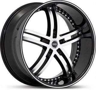 22 inch Status Knight Staggered Black Wheels Rims 5x120