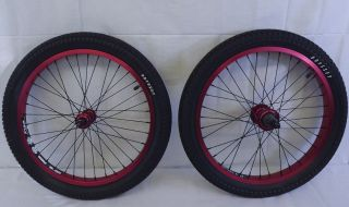 Wheel Set 9T Driver with Odyssey Tires Red Anodized Rims BMX