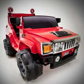 Red 12V Battery Power Kids Ride on Hummer Jeep w Big Wheels