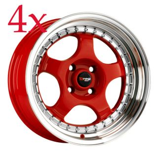 Drag Wheels DR 46 15x7 4x100 +10 Red Rims Step lips XB Miata Civic eg