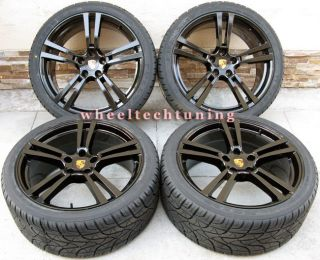 22 Porsche Panamera Turbo II Style Wheels Rims Tires Glossy Black New