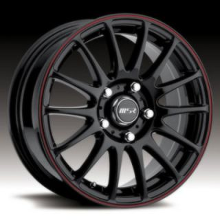 16 Wheels Rims MSR American Eagle Wheel Black with Red Stripe