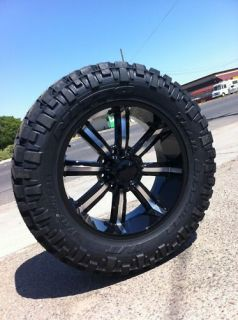 22 8x165 Black Rims Tires Hummer H1 H2 Chevy 37 13 50 22 Nitto Trail