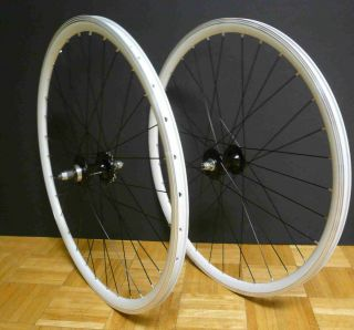 24 32H FIXED Gear Front Rear Bike Wheels Rims White