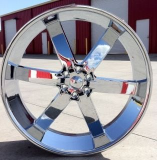 26 INCH WHEELS + TIRES U2 55 CHROME ESCALADE AVALANCHE TAHOE SILVERADO