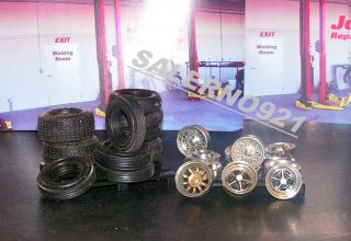 Lot 27 Tires Rims Pallets for Garage Shop Diorama Junk Yard Scenes 1