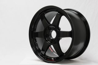 17 VOLK RAYS TE37SL GLOSS BLACK RIMS WHEELS 17x9.5 +49 5x114.3 HONDA