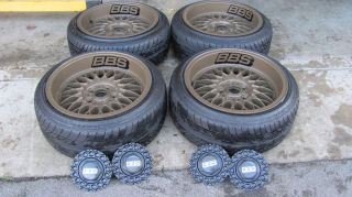 BBS WHEELS RIMS SET + TIRES 412 17X8.5 BMW E36 E32 E30 FALKEN RARE LIP