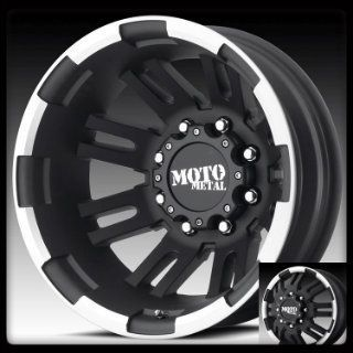 Dually MO963 16x6 8 Lug Black Wheels Rims 4 New FREE Caps Lugs Stems
