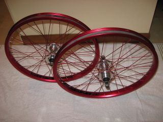 NITROUS DOUBLE WALL RED ANODIZED WHEELSET RIMS 36 H SOVOS SILVER HUBS