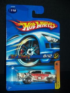 2006 Hot Wheels 8 of 12 Track Aces 57 Chevy White 10 Spoke Wheel MOC