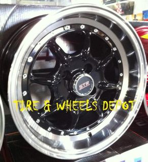 16 inch STR504B Black Mach Rims and Tires 4x100 Accord Civic Fit
