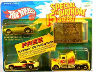 Hot Wheels Special 15th Birthday 67 Camaro P928 Long Shot Buckle 5709