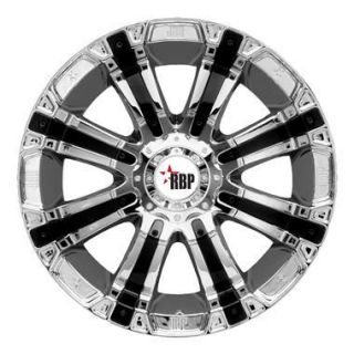 20 RBP 94R Wheel Set Chrome Black Inserts 20x9 Offroad Rims