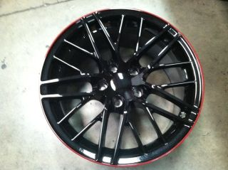 Corvette Black Red Stripe Fits ZR1 C6 Z06 Grandsport Wheel Rim