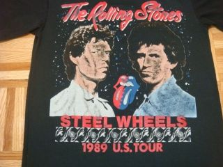 Vintage 89 Rolling Stones Steel Wheels Rock Tour T Shirt Sz Small