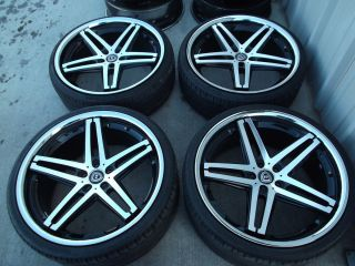 22 Black Lexani R 5 Wheels Tires Rims 5x112 Mercedes S550 CL550 Audi