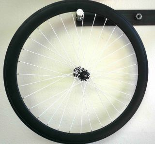 FIXED Gear Front Rear Bike Wheels Set rims Black w White Spokes