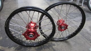 front and rear red hubs black rims Honda CRF CR 125r 250r 450r 250