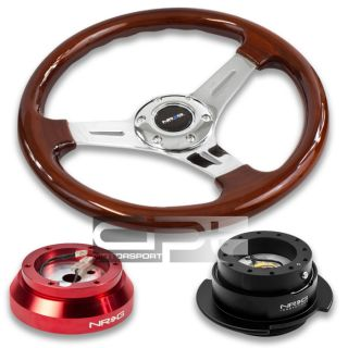NRG Deep Dish Wood Steering Wheel Red Adapter 2 5 Black Quick Release