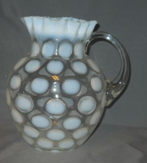 Fenton French Opalescent Coin Dot Jug Pitcher Pie Crust Rim