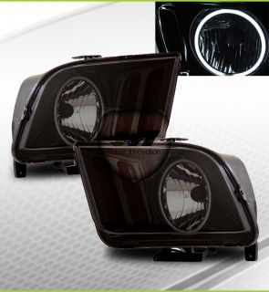 05 09 Ford Mustang CCFL Halo Rim Headlights Lamps Smoke