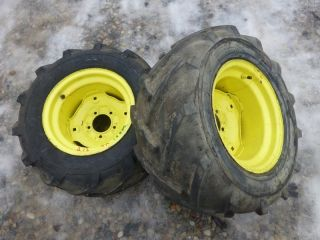 Deere 212 Tractor Carlisle 23x10.50 12 Rear Tires & Rims   Bar Lug Ag