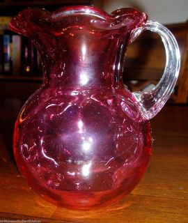 Glass Reverse Thumbprint Coin Dot Pitcher  Fluted Rim & Applied Handle