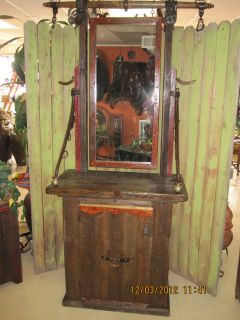 Tall Western Cabinet w Mirror Genuine Antique Barn Wood Horse Shoe Hat