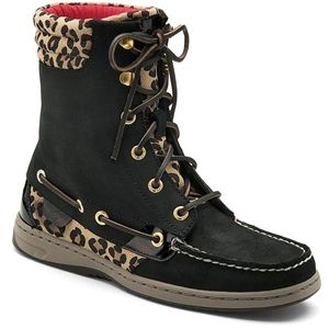 Sperry Top Sider Womens Hikerfish Black Leopard Boots   9531393