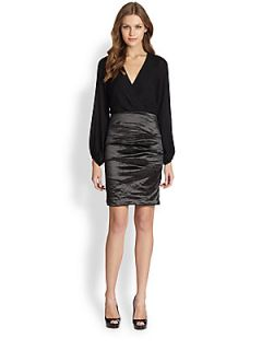 Nicole Miller Mixed Media Dress   Black