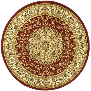 Lyndhurst Collection Red/ Ivory Rug (53 Round)