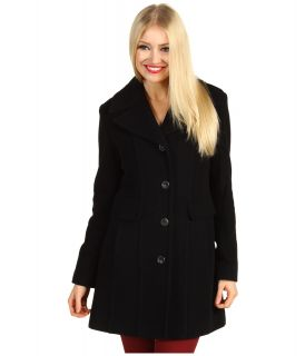 Cole Haan Wool Plush Single Breasted Coat Womens Coat (Black)