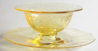 Fostoria June Topaz/Yellow Mayonnaise Bowl and Underplate   Stem #5098, Etch #27