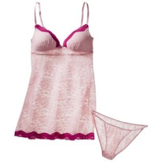 Gilligan & OMalley Womens Stretch Lace Baby Doll Set with Panty   Pink M
