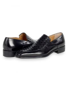 Paul Fredrick Mens Italian Woven Leather Loafer