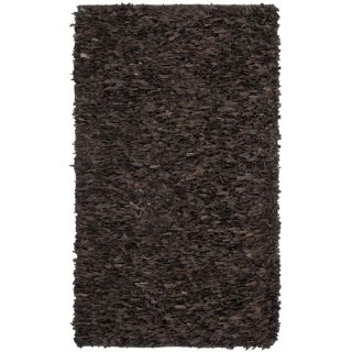 Safavieh Leather Shag Dark Brown Rug LSG421D Rug Size 8 x 10