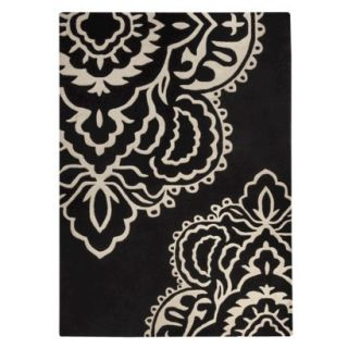 Threshold Exploded Damask Area Rug   Black (5x7)