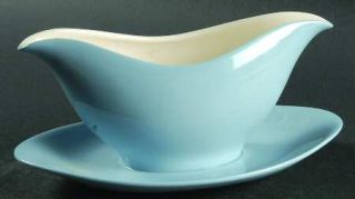 Wedgwood Summer Sky Blue & White Gravy Boat with Attached Underplate, Fine China