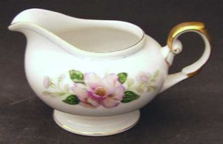Grace Rochelle Creamer, Fine China Dinnerware   Pink/Yellow Flowers, Blue Ring