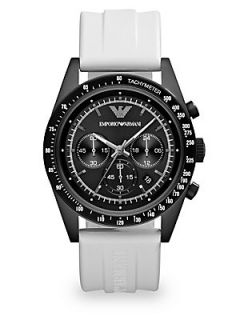Emporio Armani Round Stainless Steel Chronograph Watch   Stainless Steel White